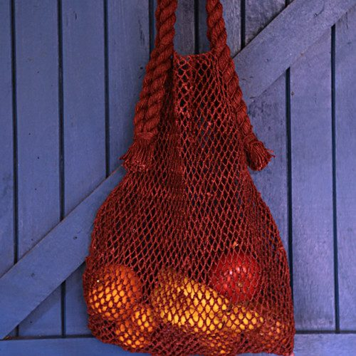 rust hemp string bag